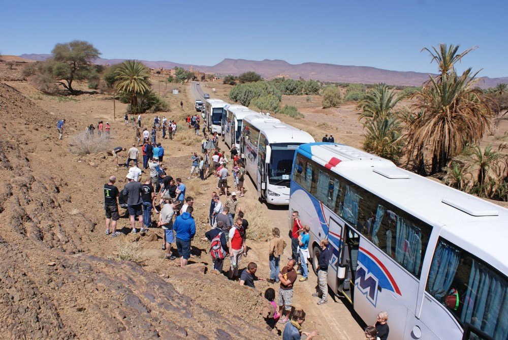 Travel to Marathon des Sables Camp Bivouac by bus