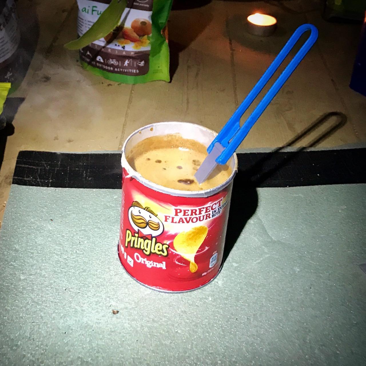 Kungsleden coffee in Pringles cup