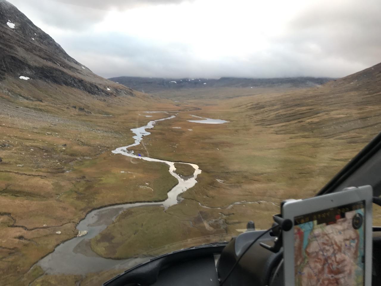Kunsleden from Helicopter between Ammarnäs and Hemavan